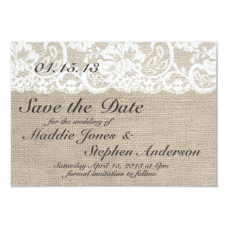 White Lace & Burlap Wedding Save the Date Card