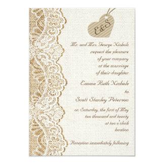 White lace & cardboard heart on burlap wedding 13 cm x 18 cm invitation card