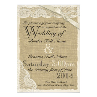 White Lace Country Wedding 13 Cm X 18 Cm Invitation Card