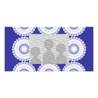 White Lace Design Pattern. Custom Photo Card