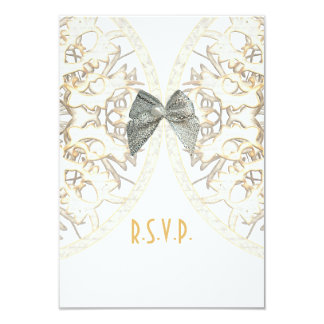 White lace filigree antique damask wedding R.S.V.P 9 Cm X 13 Cm Invitation Card
