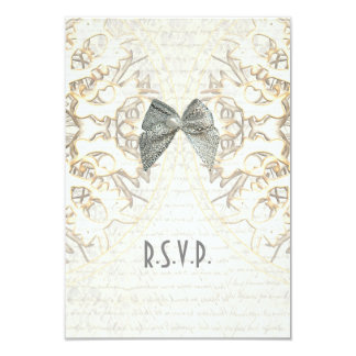 White lace filigree old parchment wedding R.S.V.P 9 Cm X 13 Cm Invitation Card
