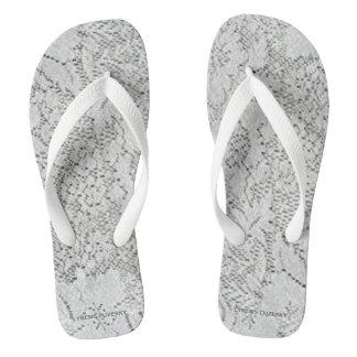 White Lace Flip Flops