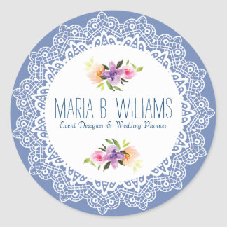 White Lace & Floral Bouquet Round Sticker