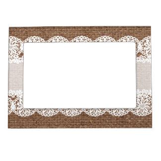 White Lace Flower Ribbon on Burlap - Shabby Chic Magnetic Photo Frames