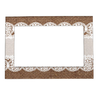White Lace Flower Ribbon on Burlap - Shabby Chic Magnetic Picture Frame