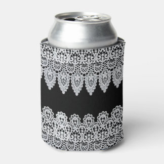 White lace forms a delicate border against black can cooler