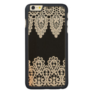 White lace forms a delicate border against black carved® maple iPhone 6 plus case