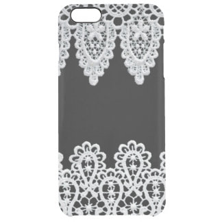 White lace forms a delicate border against black clear iPhone 6 plus case