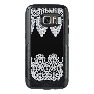White lace forms a delicate border against black OtterBox samsung galaxy s7 case