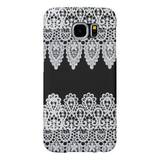 White lace forms a delicate border against black samsung galaxy s6 cases