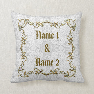 White Lace & Gold Wedding Custom Names Date Pillow