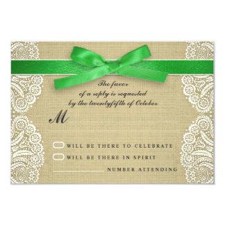 White lace, green ribbon and burlap wedding RSVP 9 Cm X 13 Cm Invitation Card