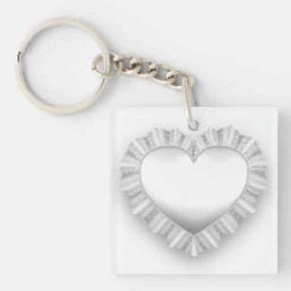 White Lace Heart Customizable Double-Sided Square Acrylic Key Ring