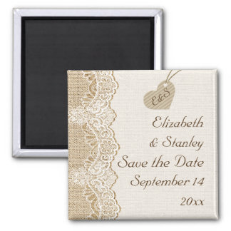 White lace & heart on burlap wedding Save the Date Fridge Magnets