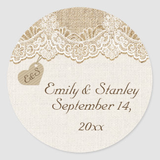 White lace & heart on burlap wedding Save the Date Round Sticker