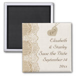 White lace & heart on burlap wedding Save the Date Square Magnet