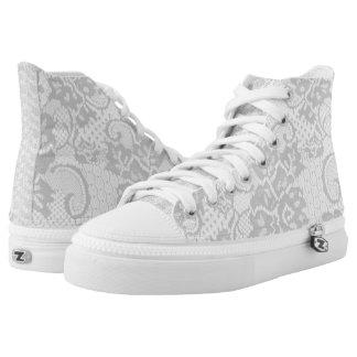 White Lace Hi Top shoe