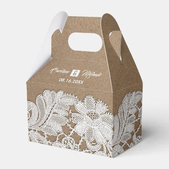 White Lace Kraft Paper Wedding Favour Boxes Zazzle Co Uk
