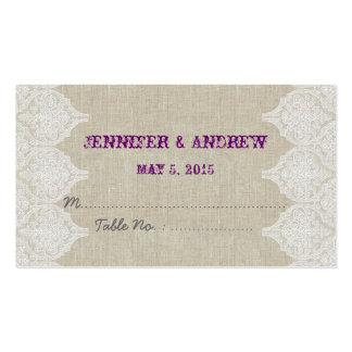 White Lace Linen Vintage Wedding Escort Card Business Card Templates