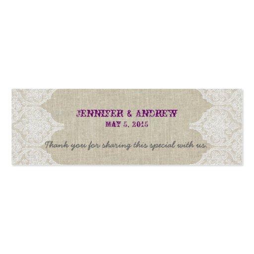 White Lace Linen Vintage Wedding Favor Card Business Cards
