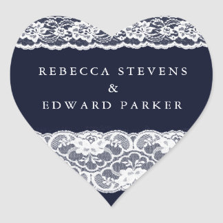 White Lace Navy Blue Elegant Modern Wedding Heart Sticker