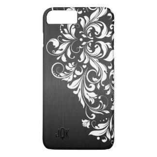 White Lace On Black Background iPhone 7 Plus Case