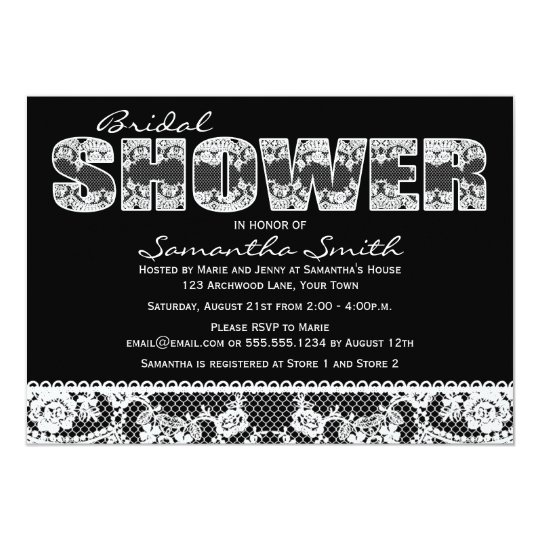 White Lace on Black Bridal Shower Party Card