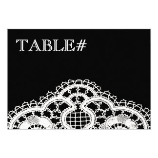 White Lace on Black Table Number Cards Custom Invite