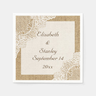 White lace on burlap rustic wedding disposable serviette
