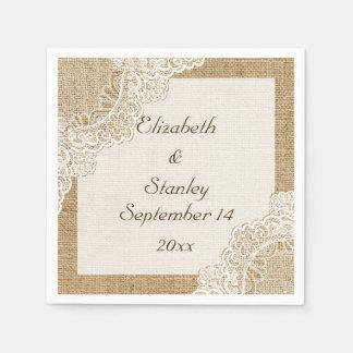 White lace on burlap rustic wedding paper serviettes