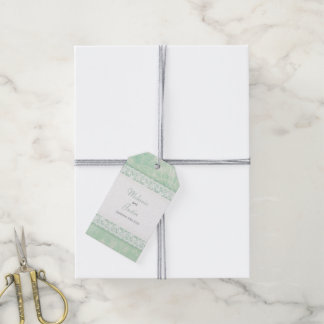 White lace on green wedding favor tags