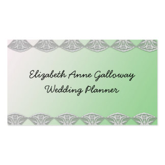 White Lace on Green Wedding Pack Of Standard Business Cards