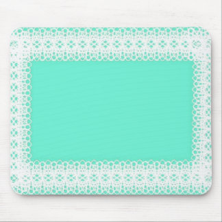 White Lace on Lime Green -DIY Mouse Pad
