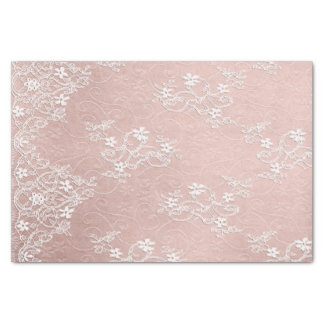 White Lace on Pink Tissue Paper