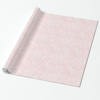 White Lace on Pink Wedding Gift Wrapping Paper