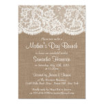 White Lace On Rustic Burlap Mother's Day Brunch 13 Cm X 18 Cm Invitation Card