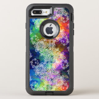 White Lace on Swirling Rainbow OtterBox Defender iPhone 8 Plus/7 Plus Case