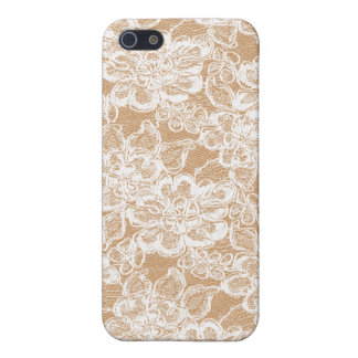 White lace on tan iPhone 4 skin iPhone 5/5S Cases