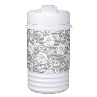 White lace pattern on gray background drinks cooler