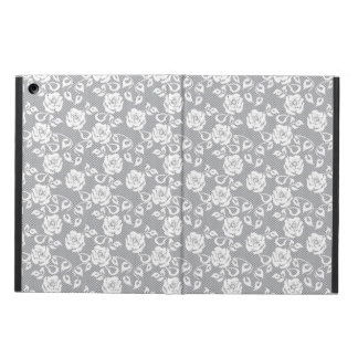 White lace pattern on gray background iPad air cover