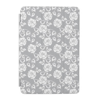 White lace pattern on gray background iPad mini cover