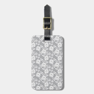 White lace pattern on gray background luggage tag