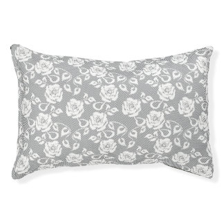 White lace pattern on gray background pet bed