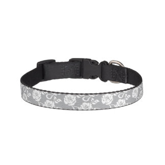 White lace pattern on gray background pet collar