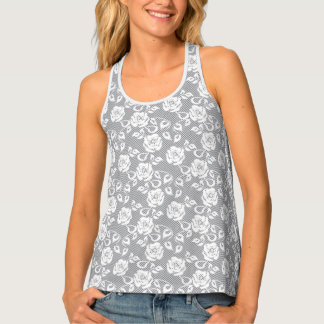 White lace pattern on gray background tank top