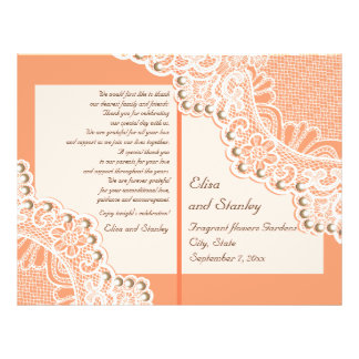 White lace & pearls coral orange wedding program flyers