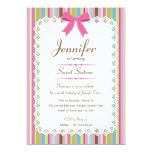 White Lace Pink Bow Candy Stripes Sweet 16 5x7 Invite