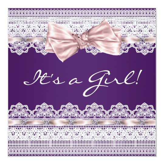 White Lace Pink Ribbon Girl Purple Baby Shower 13 Cm X 13 Cm Square Invitation Card