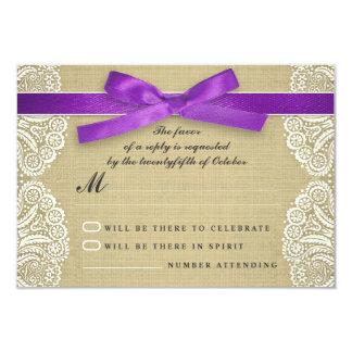 White lace, purple ribbon and burlap wedding RSVP 9 Cm X 13 Cm Invitation Card